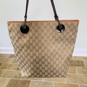 Authentic Gucci Canvas & Leather Tote Bag Purse